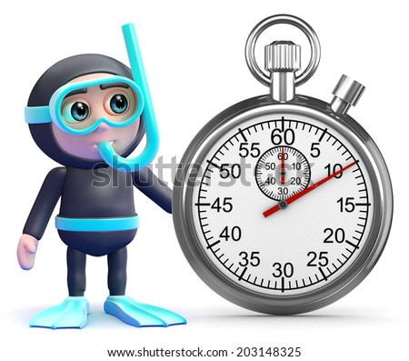 3d render of a snorkel diver and stopwatch - stock photo