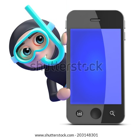 3d render of a snorkel diver behind a smartphone - stock photo