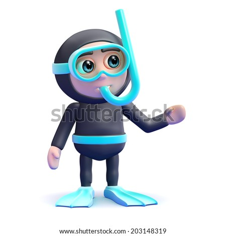 3d render of a snorkel diver gesturing to the left - stock photo