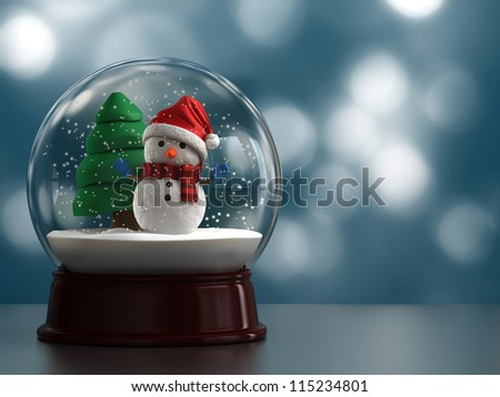 3d render of a snow globe with snowman - stock photo