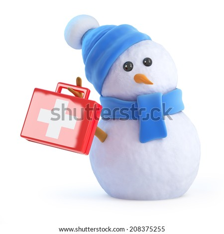 3d render of a snowman carrying a first aid kit - stock photo