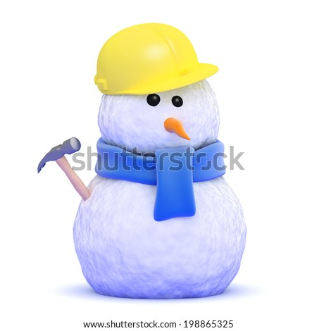 3d render of a snowman construction worker - stock photo
