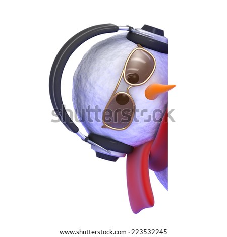 3d render of a snowman peeping round the corner - stock photo