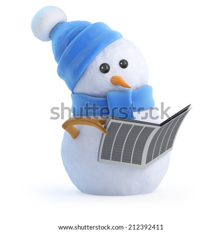 3d render of a snowman reading a newspaper - stock photo