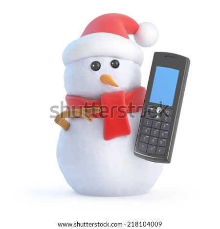 3d render of a snowman wearing a Santa Claus hat and chatting on a cellphone