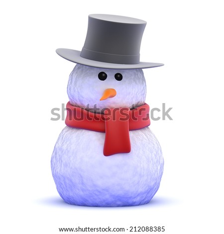 3d render of a snowman wearing a top hat - stock photo