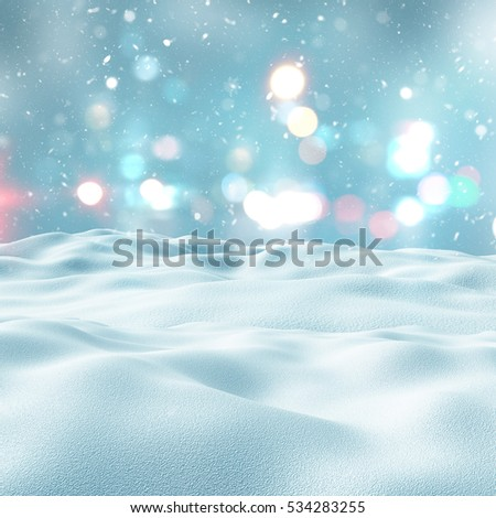 3D render of a snowy landscape with bokeh lights