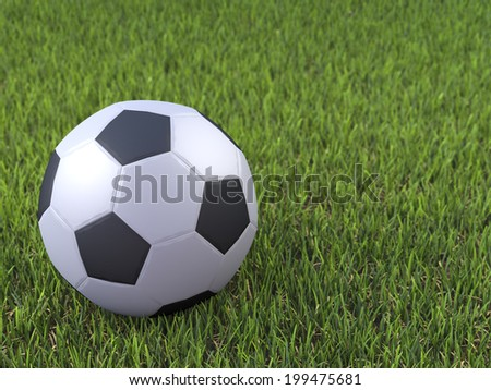 3d render of a soccer ball on grass