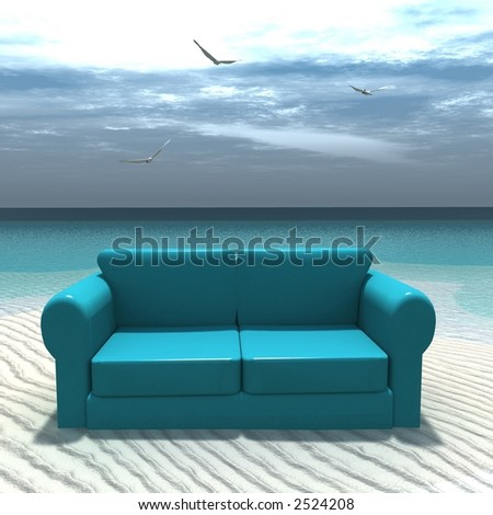 3d render of a sofa on a tropical beach - stock photo