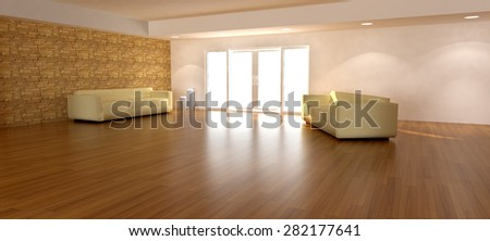 3d render of a spacious living room for composite backgrounds. The image is cropped to have more floor space to be used as a background.  It is night time. - stock photo