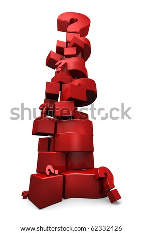 3D render of a stack of red question marks - stock photo