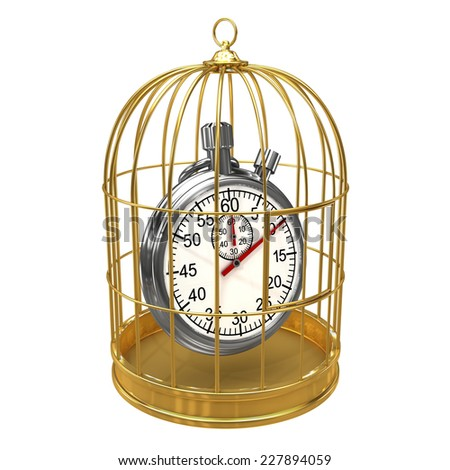 3d render of a stopwatch in a birdcage - stock photo