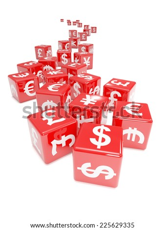 3d render of a stream of red dice marked with international currency symbols - stock photo