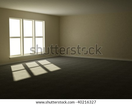 3d render of a sunlight filled room that is still empty