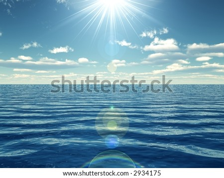 3d render of a sunny day in the ocean - stock photo