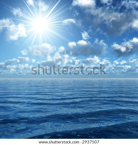 3d render of a sunny sky on a wavy ocean - stock photo