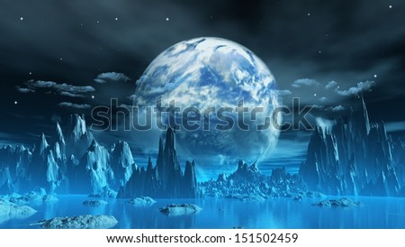 3D render of a surreal ice planet with earth in the sky - stock photo