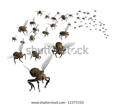 3D render of a swarm of flies - they're headed your way! - stock photo