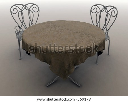 3D Render of a table for 2 - stock photo