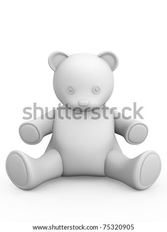 3d render of a teddy bear in white - stock photo