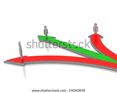 3D render of a three people standing at the apex of 3 arrows. Can be used for various conceptual business ideas. - stock photo