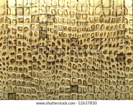 3d render of a tiled wall,  snake skin texture - stock photo