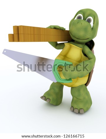 3D render of a tortoise carpenter contractor