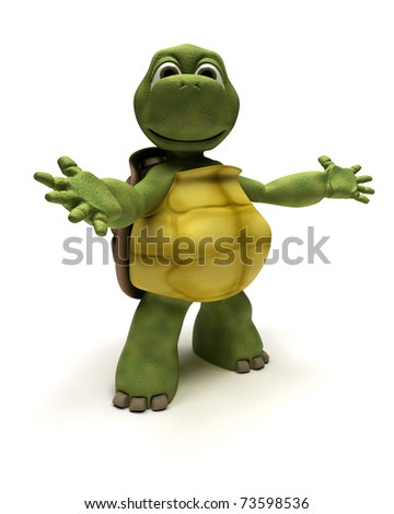 3D Render of a Tortoise in an introduction pose - stock photo