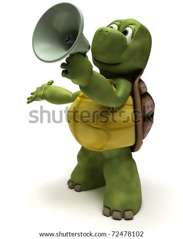 3D Render of a Tortoise shouting in a bull horn - stock photo