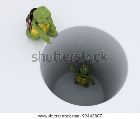 3D render of a tortoise stuck in  hole metaphor