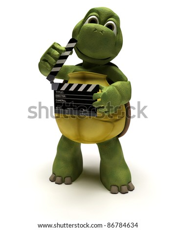 3D render of a tortoise with a clapper board - stock photo