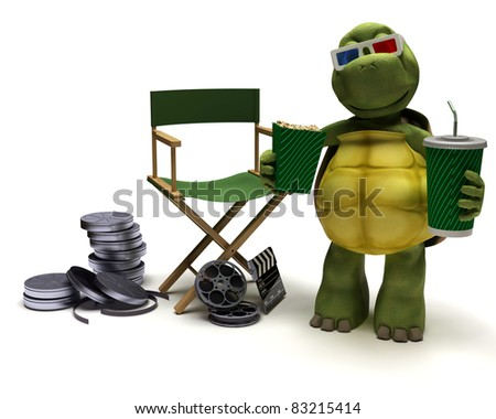 3D render of a tortoise with a directors chair - stock photo