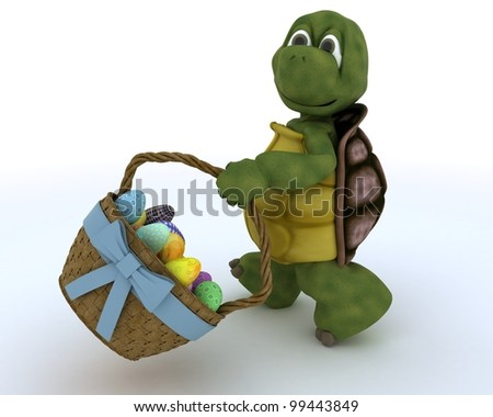 3D render of a tortoise with basket of easter eggs