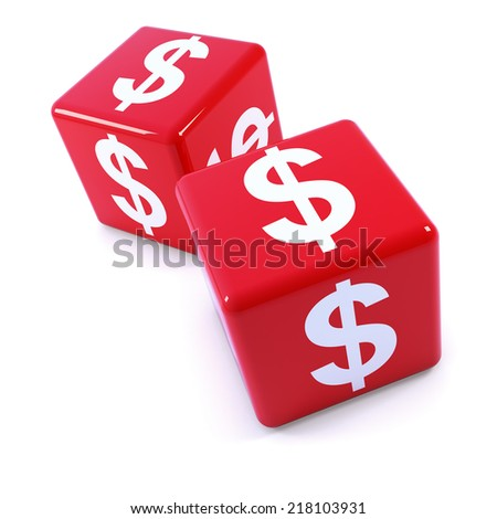 3d render of a two red dice marked with the US Dollar currency symbol - stock photo