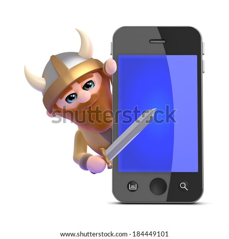 3d render of a viking hiding behind a giant smartphone - stock photo