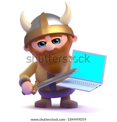 3d render of a viking holding a laptop - stock photo