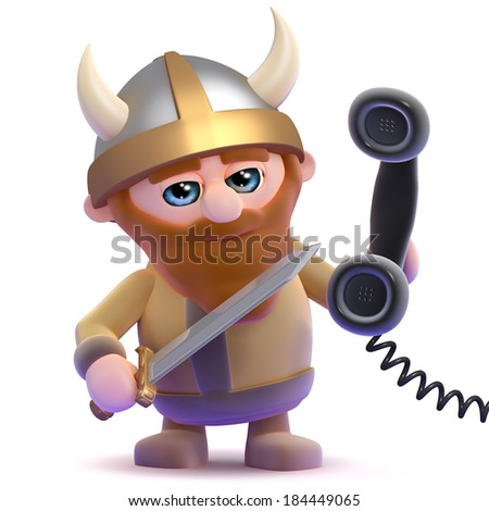 3d render of a viking holding a telephone handset - stock photo