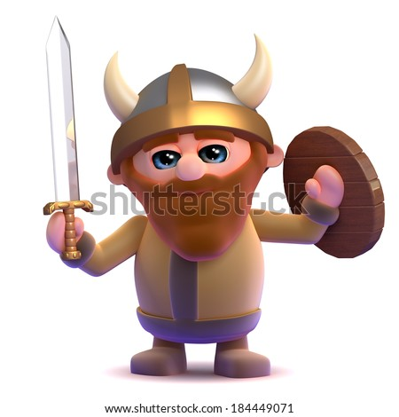 3d render of a viking let out a hearty roar - stock photo