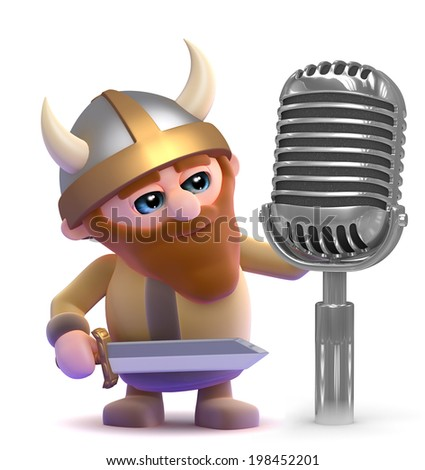 3d render of a viking next to an old retro radio microphone - stock photo