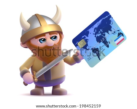 3d render of a viking paying with a debit card - stock photo