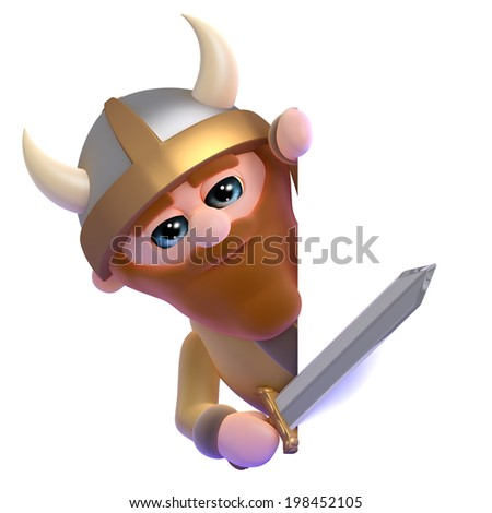 3d render of a viking peeping round the side of a blank space - stock photo
