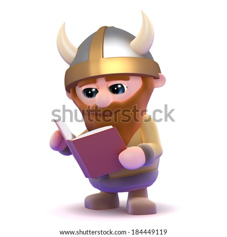 3d render of a viking reading a book - stock photo