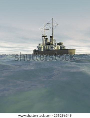 3D render of a vintage warship (1890-1915) moving across a choppy sea with an overcast sky. Fictitious warship, created and modeled entirely by myself. Low camera angle to emphasize the rough sea. - stock photo