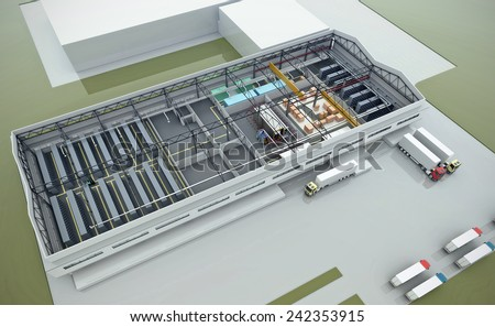 3d render of a warehouse - stock photo