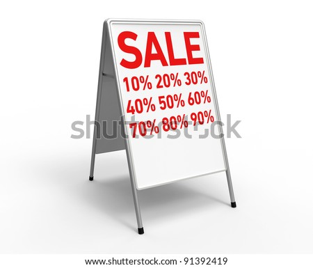 "3d render of a white advertising stand on a white background with the inscription ""sale"" and a lots of discount rates"