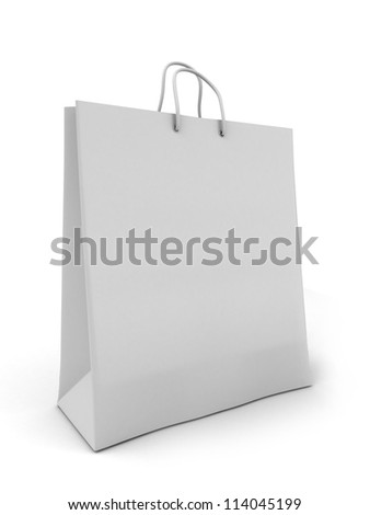 3d render of a white shopping bag - stock photo