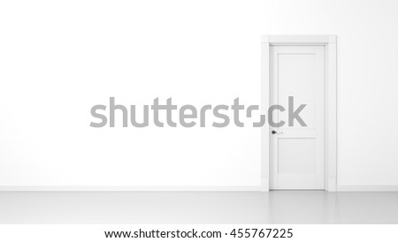 3D render of a white wall and a door in an empty flat with space for your content - stock photo