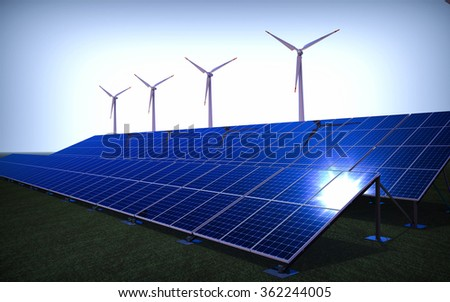 3D render of a wind farm and solar panels / Green energy Farm