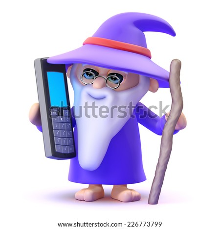 3d render of a wizard chatting on a mobile phone - stock photo