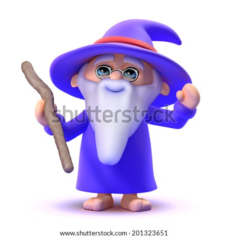 3d render of a wizard raising his arms - stock photo